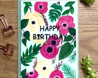 Happy Birthday Card, Greeting Card, Pink & Yellow Roses, Floral Greeting Card, Floral Birthday