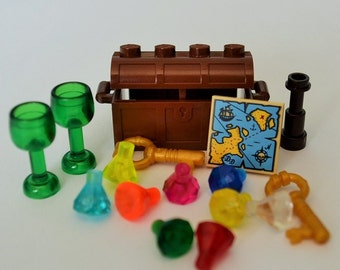 LEGO Pirate Treasure Chest, 9 Jewels Crystals Gems Diamonds, 2 Goblets, 1 Map, 2 Keys