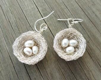 Sterling Silver Bird nest Earrings, Silver birds nest earrings, Nest earrings,Pearl Nest Earrings, white pearl earrings