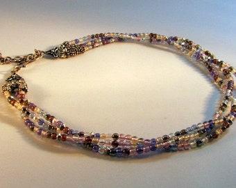 Three Strand Glass Bead Necklace