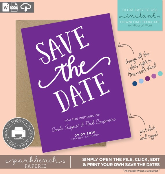 items similar to save the date printable template for microsoft word