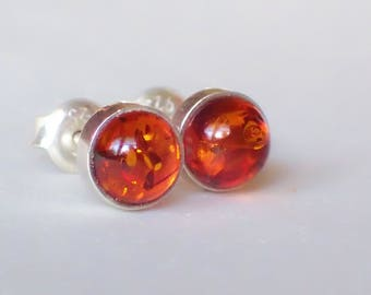 Vintage Cognac Colored Baltic Amber and Sterling Silver Stud Earrings from Prague