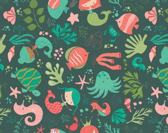 "Ocean Play, by Heather Rosas - 100% Cotton, 44"" Wide, by the half yard"