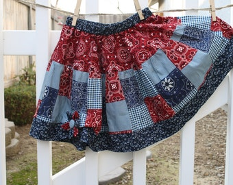 Cowgirl Twirl Skirt in Blue and Red