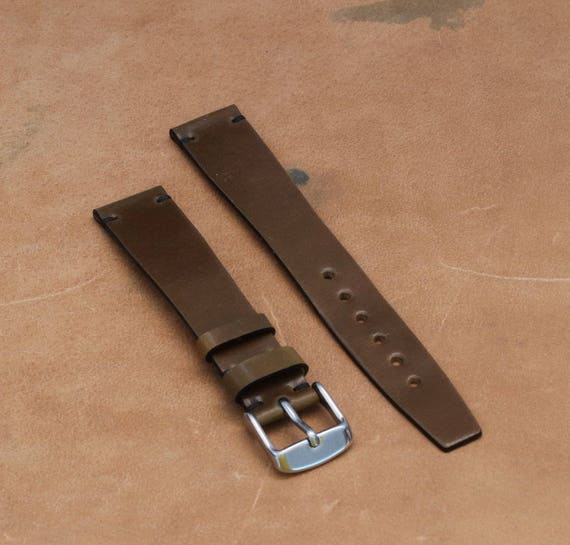 VTG style Bourbon Horween Shell Cordovan watch band - simple stitching