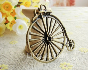 Antique Bronze 19th Century Vintage Style Bicycle Charms 46x52mm - 5Pcs - DC21179