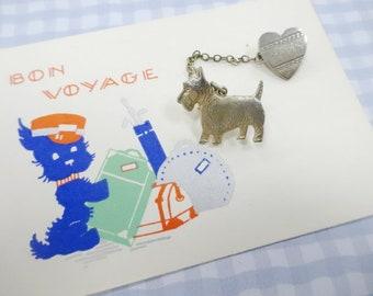 Vintage 1940's Art Deco Baby Doll Miniature Sweetheart Scottie Scottish Terrier Dog Pin Bon Voyage Gift Card Lot