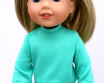 Fits like Wellie Wishers Doll Clothes - The Classic Sweater in Mint | 14.5 Inch Doll Clothes