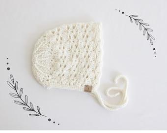 White Magnolia Bonnet, Crochet Baby Bonnet, White Bonnet For Toddler, Toddler Girl Clothes, Baby Girl Bonnet, Knit Bonnet Baby, Spring Hat