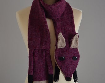 Knit Fox Scarf Kids and Adult Size Plummish Burgundy Animal Scarf
