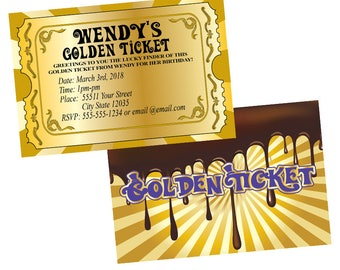 Chocolate Factory Invitations, Golden Ticket Invitations