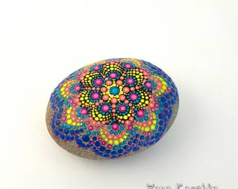Happy Mandala Stone by Yana Kaechka, Unique Gift, One In Kind