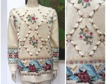 90's vintage embroidered pure wool cable knit jumper