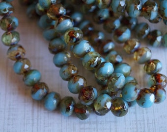 7x5mm Rondelle - Sky Blue Amber Swirl Picasso -  Czech Glass Beads - Fire Polished Beads - 3x5mm Donut Mix - BeadSoup