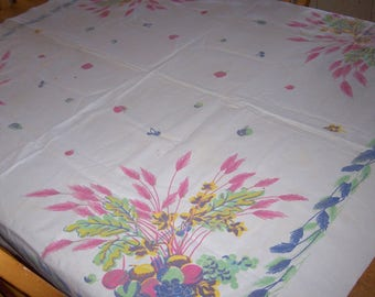 Vintage tablecloth with fruit and flowers