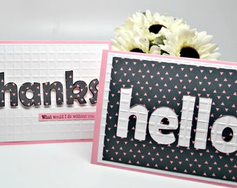 Premium Greeting Cards / Set of 2 Handmade Cards / Thanks Card / Hello Card / Luxury Thank You Card / Blank Note Cards