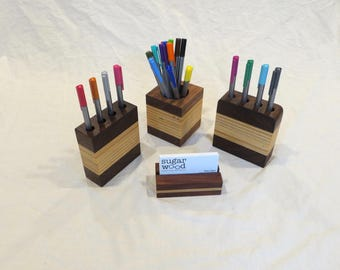 Wooden desk organizer, business card stand, pen holder, walnut and birch -- free shipping to US