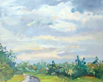 Original Oil Painting, Plein air landscape, 12x16in, Irish landscape, Soft Cloudy sky pearly colours, Impressionist style art