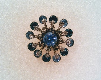 Mid Century Pinwheel Brooch, Flower Style Pin,  Blue Rhinestone Silver Gold Hat Pin,  Brooch Scarf Pin, Brooch, Vintage Jewelry