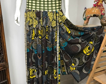 Vtg 80s 90s Jean Paul Gaultier soleil african print mesh skirt