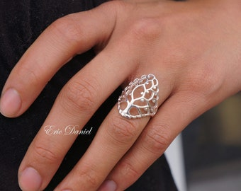 Tree of Life Ring in Sterlng Silver, Yellow Gold or Rose Gold, Family Tree Ring, Eternity Ring, Tree of Life Ring