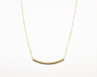 Curved Bar Necklace / Delicate Gold Tube Necklace / Bar Necklace / Geometric Modern Minimal / Simple Necklace
