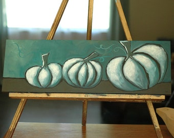 Pumpkins - Fall Autumn Halloween - Whimsical Acrylic Painting - Original Art - 8 x 24 - Once in a Blue Moon