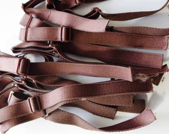 10 pairs Bra Straps - Dark Brown - 1,5 cm- Made in France