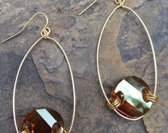 Amber Hoop Swarovski Crystal Earrings, Gold Hoop Earrings, Sparkly Hoop Earrings