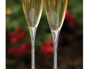 Personalized Wedding Flutes Champagne Zippered Elegance Toasting Glasses Ceremony Engraved