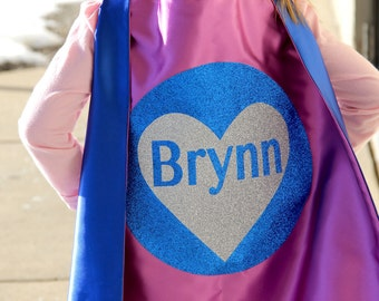 SPARKLE HEART GIRLS Personalized Superhero Cape - Full Name Hero Cape - Fast shipping - Girls Birthday - Valentines Day Ready