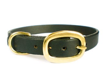 """3/4"""" Black Chahin English Bridle Leather Plain Dog Collar w/ Solid Brass Hardware and Oval Buckle"""