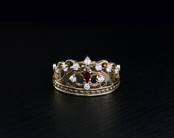 Gold crown ring, Princess tiara ring, Crown unique ring, Anniversary ring, Crown ring, Beautiful ring crown, Gift for women, Amazing ring