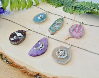 Custom Geode Slice Charm Necklace