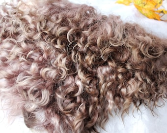 Eco natural brown goatskin angora mohair locks perfect doll hair handdyed