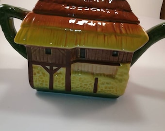 Vintage Old Thatched Roof Cottage Teapot, Mother's Day