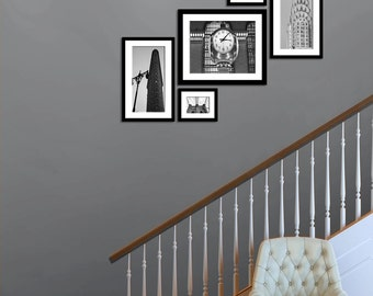 Set of 5 Black and White New York City Architecture Art Prints Industrial Modern Wall Art Flatiron Grand Central Brooklyn Bridge Chyrsler