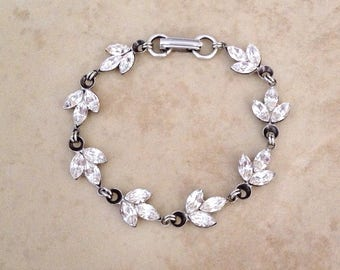 Swarovski sparkling crystal rhinestone leaf bracelet, wedding bracelet, delicate, bridal jewelry, bridal bracelet, crystal, bridesmaid gift