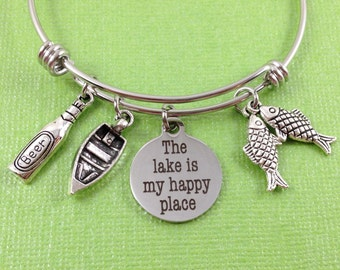 Lake Charm Bracelet, The Lake is My Happy Place Charm Bracelet, Lake Charm Bangle, Summer Charm Bracelet, Boat Charm, Beer Charm, Fish Charm