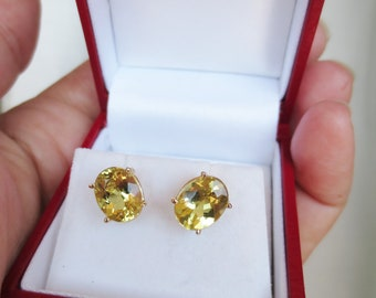 14K GOLDEN BERYL Stud Earrings 3.25 ctw Yellow Gold Vintage Estate Fine Jewelry Oval Gemstone NOS