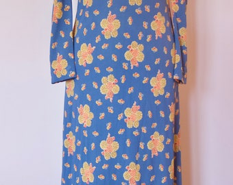 Beautiful blue seventies dress with flowers. Eu 38 ( Belgian)
