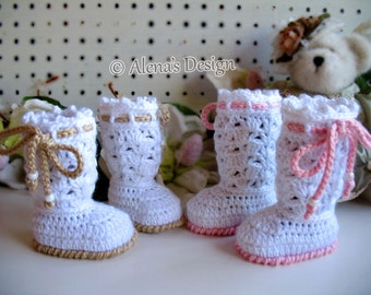 Crochet Pattern 170 Baby Booties Crochet Pattern Angel Baby Lace High-Top Booties White Slippers Newborn Baby Shower Gift Christmas Baptism