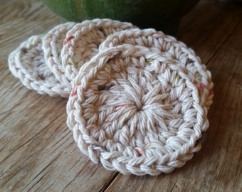Crochet Tan (Earthy Flecks) Facial Scrubbies, Set of 5
