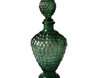 Vintage Dark Green Bubble Decanter