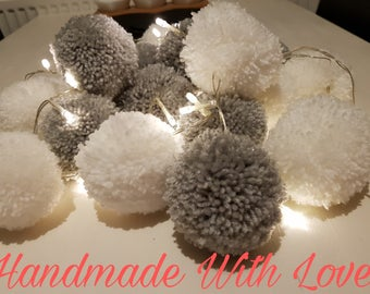 Chunky Pom Pom Fairy Light Garland. Pom pom garland. Pom pom fairy light garland. Fairy lights. Garland. Home decor