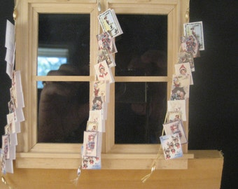 Christmas Card Garland, Miniature Hand made