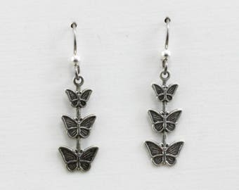 Handmade Earrings Silver Platerd Brass Triple Butterfly Drops Niobium Hooks Oscarcrow Originals