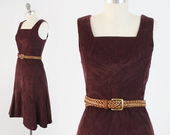 ON SALE Vintage 70s Corduroy Dress - Sleeveless Burgundy Cotton Sundress - Festival Summer Midi Dress by Leomag Creation - Size Medium Large
