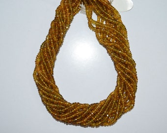 Yellow Tourmaline Faceted 4-5 mm , 14 inch strand