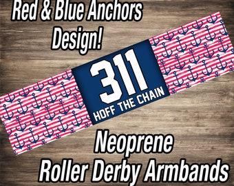 Roller Derby Armbands - Red & Blue Anchors Design